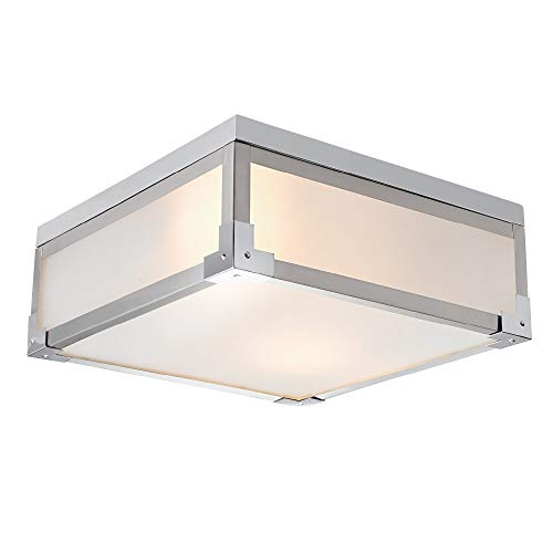 Globe Electric Blair 2-Light Flush Mount Ceiling Light, Brushed Steel, Chrome Accents, Frosted Glass Shade 60339