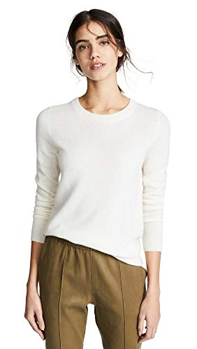White + Warren Women's Essential Cashmere Sweater, Pearl White, Large