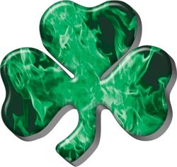 Firefighter Fire Helmet (Firefighter Luck Shamrock Decal - Inferno Green - 2