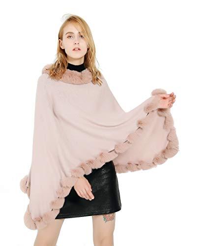FELIX & SiLK Mujer Niña Color Sólido Bufanda Wrap Chales Estolas Ponchos Capa Pelo sintético Collar Pompones Dobladillo