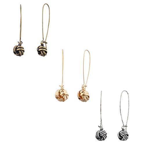 Lux Accessories Tri Color Love Knot Dangle Multi Earring Set (3PCS) ()