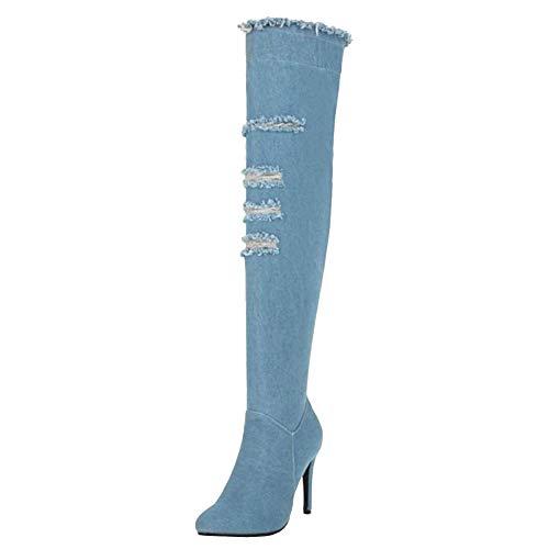 Blu Blu Blu Tacchi Donne Stivali Lydee Moda Lunghi a leggero leggero leggero Spillo 6 pzO4fqF