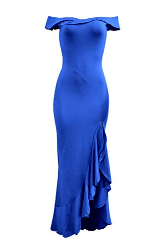 PRETTYGARDE Womens Off Shoulder Flouncing Mermaid Formal Prom Gowns High Low Party Dress Blue X_Large ()