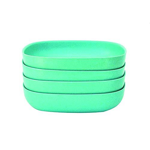 Blue Italian Square Salad Bowl - EKOBO Bamboo 24oz Pasta/Salad Bowl Set, Service for 4, BIOBU Eco-material, Indoor/Outdoor dining, Lagoon (Blue)