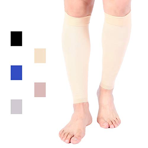 Premium Calf Compression Sleeve 1 Pair 15-20 mmHg Firm Calf Support Multiple COLORS Graduated Pressure for Sports Running Muscle Recovery Shin Splints Varicose Veins Doc Miller (Pale Skin, Medium)