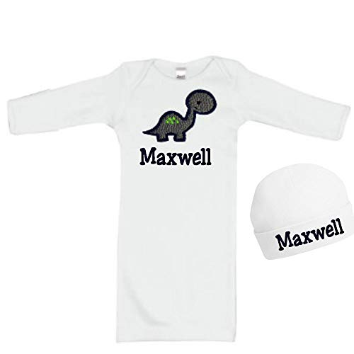 Personalized Embroidered Baby Boy Dinosaur Newborn Gown with Matching Cotton Beanie Hat - Your Custom Name (White Gown & Hat (Embroidered Mittens)