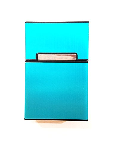 XUKEKOY Brushed Aluminum Cigarette Case, Hard Box and Holder with Solid Magnetic Flip Top Closure King Size - Blue