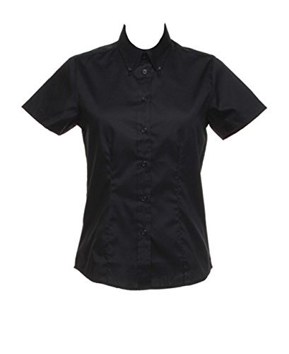 New de pared de hierro de mujer para senderismo fácil de Kustom Oxford Corporate blusa manga corta Tejido negro