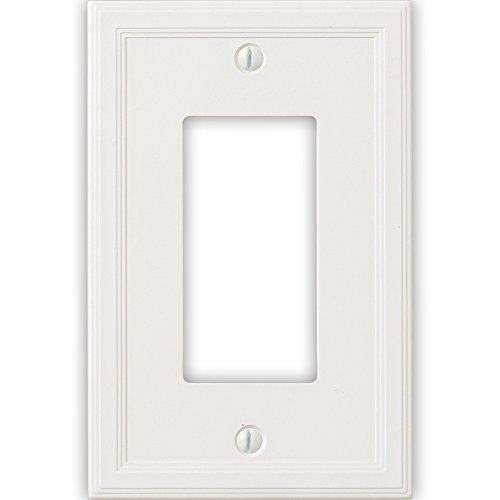Questech Cornice Insulated Decorative Switch Plate/Wall Plate Cover - Made in the USA (Single Decorator, White)
