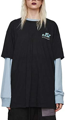 [ビヨンドユー] Tシャツ メンズ プリント ロング丈 半袖 ティーシャツ プリントTシャツ Uネック ロゴT