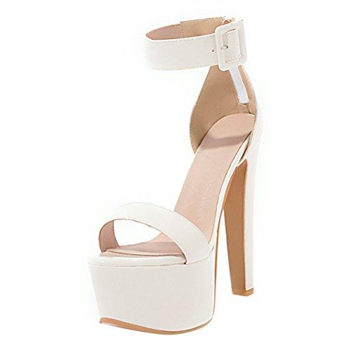 a Punta Spillo Sala Donna con Caviglia YE Chiusa Cinturino da Sandali Platform Scarpe Tacco Bianco Elegante Bella Cerniera Estate w6xwqXnR