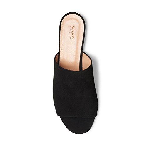 Sandali Con Scollo A Punta Midi Xyd Summer Slip On Flats Donna Pantofole Comode Scarpe Scamosciate Nere