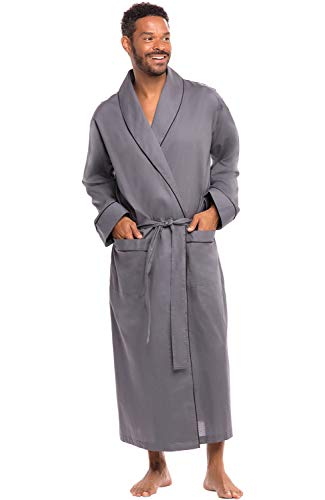 Alexander Del Rossa Men's Lightweight Cotton Robe, Woven Kimono, Small Steel Grey (A0715STLSM)