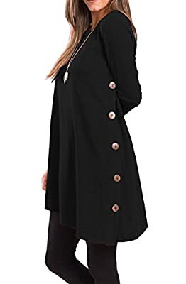 iGENJUN Women's Long Sleeve Scoop Neck Button Side Sweater Tunic Dress
