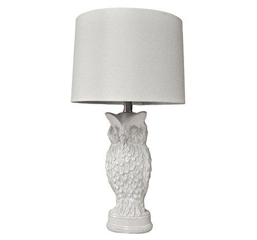"""27""""H White Owl Ceramic Bedroom Living Room Table Lamp Hom..."""