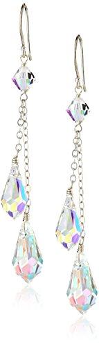Sterling Silver Swarovski Elements Double Tear Earrings
