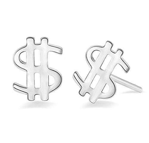 Windoson Fashion Cute Crystal Dollar Sign Ear Studs Glittering Stud Earrings Gift (Silver) ()