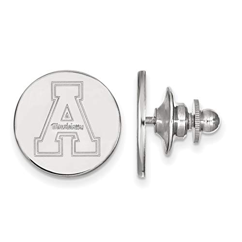 - Appalachian State University Mountaineers School Letter And Team Name Lapel Pin in Sterling Silver 15x15mm
