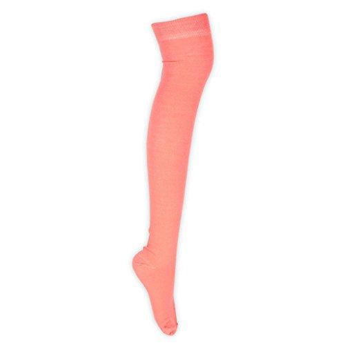 o Vivid Calcetines 4 5 naranja damas 23 Muslo Overknees 3 6 Fluo sobre altos Color Tama la pares mujeres UK de 1 o rodilla HP1Zwq1U