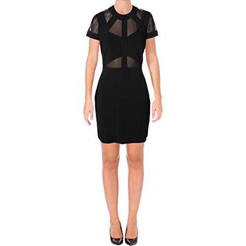 Nicole Miller Women's Structured Heavy Jersey Mesh Combo Dress, Black/Black, 10