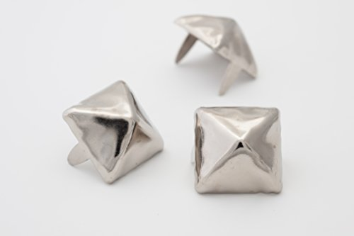 Large Pyramid Studs - Size 16 - Ideally used for Denim and Leather Work - Classic Two-Prong Studs - Available in Silver Color - Pack of 50 (Large Styled Handbag)