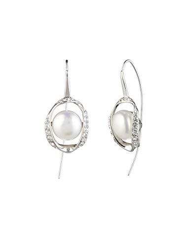 Carolee Women's Fresh Water Pearl Drop Elongated Ear Wire Earring, Silver/Gray