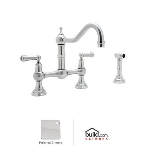 Rohl U.4756L-APC-2 Perrin and Rowe Provence Lever Handle Bridge Kitchen Faucet with Sidespray Rinse in Polished Chrome
