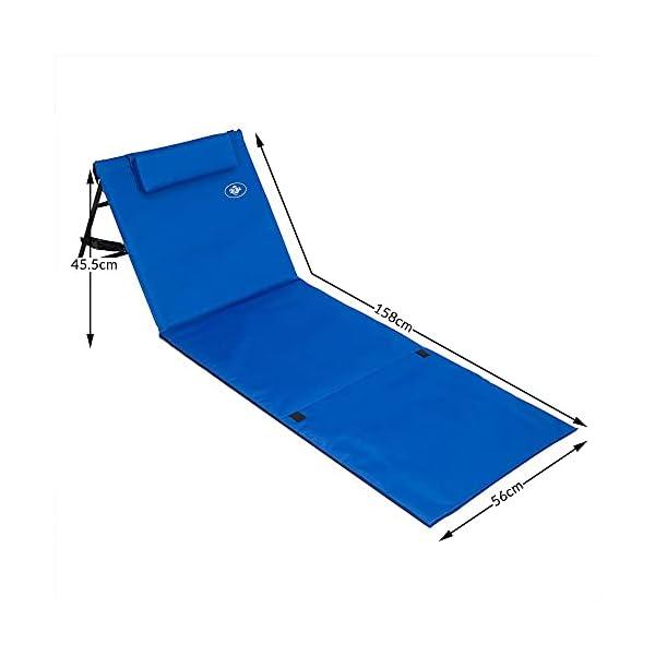 31Ey9jYhHNS Deuba 2X Strandmatte Faltbar Gepolstert Kissen verstellbare Rückenlehne Staufach Badematte Isomatte Strandtuch Blau