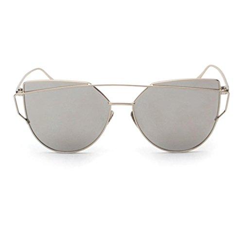Plata del Gafas metálico del Gafas del ASHOP sol de mujeres gato de las espejo del ojo de marco Sv1TAqE1