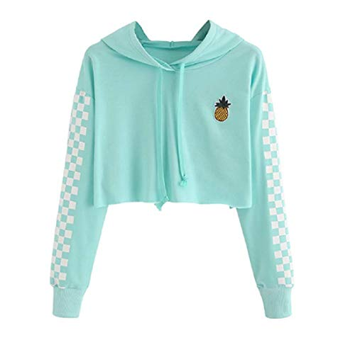 - Women's Cute Crop Top Teen Girls Cropped Hoodie Pineapple Print Sweater Color Block Jacket Sweatshirt Jumper Pullover Tops (Blue, S)