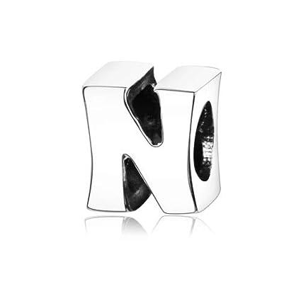 9e0ea12ee Ochoos 100% 925 Sterling Silver A-Z Alphabet Letters M Charm Beads Fit  Original Pandora Charm