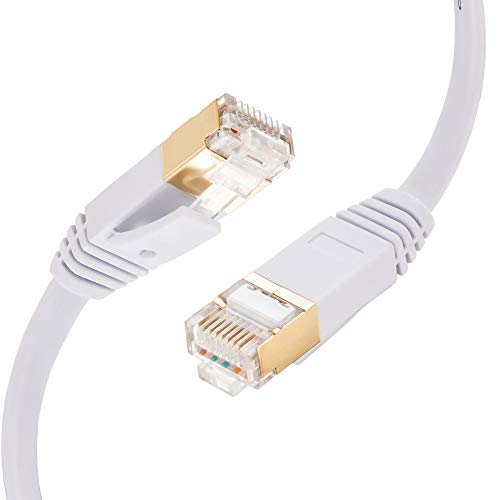 Cat 7 Ethernet Cable 100Ft, Tan QY Cat7 RJ45 Network Patch Cable 10 Gigabit 600Mhz LAN Wire Cable Cord for Modem, Router, PC, Mac, Laptop, PS2, PS3, PS4(White, 100Ft)