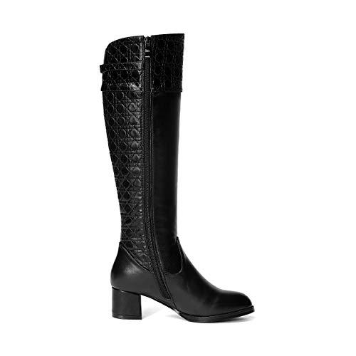 Heels Leather high Med Boots Black Zip Ladies Black Toe Knee Block Heels Women Genuine Round Fashion 7qWwEz8T