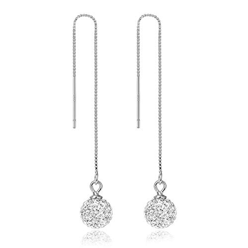 Silver Threader Earrings,Long Chain Dangle Earrings,Crystal Ball Drop Earrings,Elegant Dainty Cartilage Earrings for Women Girl Ear Threaders Multiple Piercings Pull Through ()