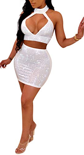 Women Sexy 2 Piece Outfit Rhinestone Hollow Out Halter Neck Bra Crop Top + Mini Skirt Set Party ()