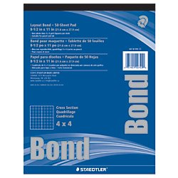Staedtler(R) Bond Paper, 8 1/2in. x 11in., 4 x 4, White With Blue Grid, 50 Sheets (Blue Grid Paper)
