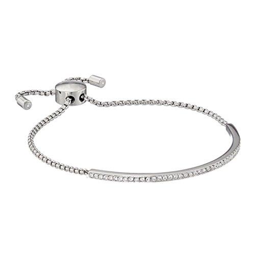 Leyorie Plated Adjustable Chain Bracelets Women Rhinestone Crystal Alloy Link Cuff Thin Bangle (Silver) (Silver)