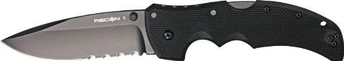 Cold Steel Recon 1 Spear Point 50/50 Edge Tactical Folder Knife, Outdoor Stuffs