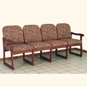 Dakota Wave Prairie Quadruple Sled Base Sofa in Mahogany -