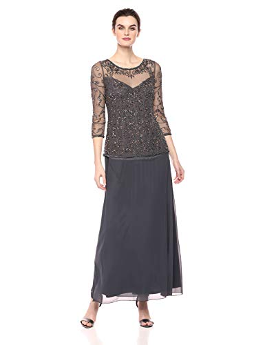 Pisarro Nights Women's Mock Two-Piece Beaded Dress with Illusion Neck, Slate, 8