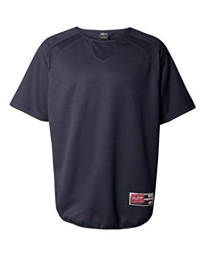 Rawlings Adult Flatback Mesh Short Sleeve Fleece Pullover (Navy) (XL)
