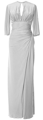 MACloth Women Half Sleeve Jersey Long Mother of Bride Dress Formal Evening Gown Blanco
