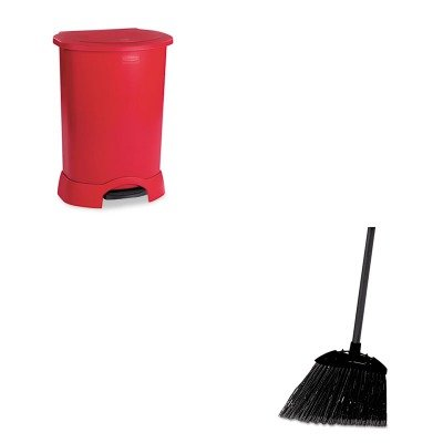 KITRCP614700RDRCP637400BLA - Value Kit - Rubbermaid Step-On Container (RCP614700RD) and Rubbermaid-Black Brute Angled Lobby Broom (RCP637400BLA) by Rubbermaid