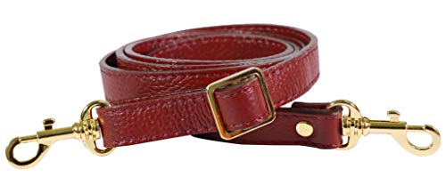 SeptCity Top Quality Grain Leather Adjustable Shoulder Straps -1.8 CM Width(20 Color)(Wine)