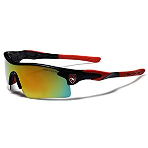 Premium Polarized Mirror Lens Sports Cycling Fishing Sunglasses - Black & Red