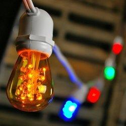Commercial String Lights, 50 Multicolor LED S14 Bulbs, 106 ft. White