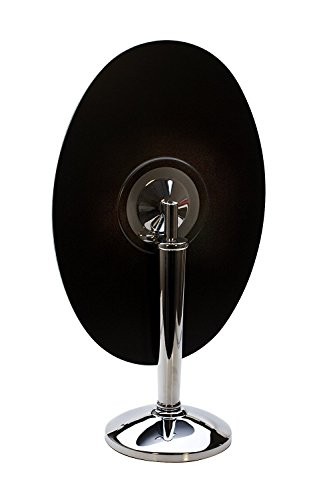 Large 18 Inch Oval Rimless Pedestal Mirror, Polished Chrome