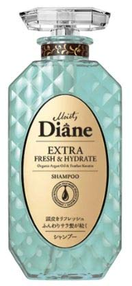 MOIST DIANE Extra Fresh & Hydrate Shampoo 450ml -This Shampoo Creates a Dense Lather Using Lightweight Argan Oil, which Deeply cleanses and purifies The Scalp to Remove sebum