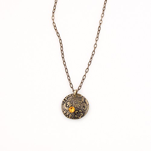 Circular Pewter Necklace (Flower Saucer Disc Pendant Necklace - Swarovski Topaz Crystal Natural Brass Flat Link Chain 1 & 24-in)