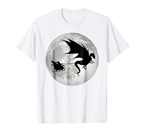 Breathing Dragon Fire T-shirt (Christmas Santa Claus Flying past the Moon w/ Dragon T-Shirt)